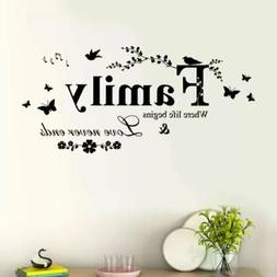 Family Butterfly Flower Art Vinyl Quote Wall Stickers Decals